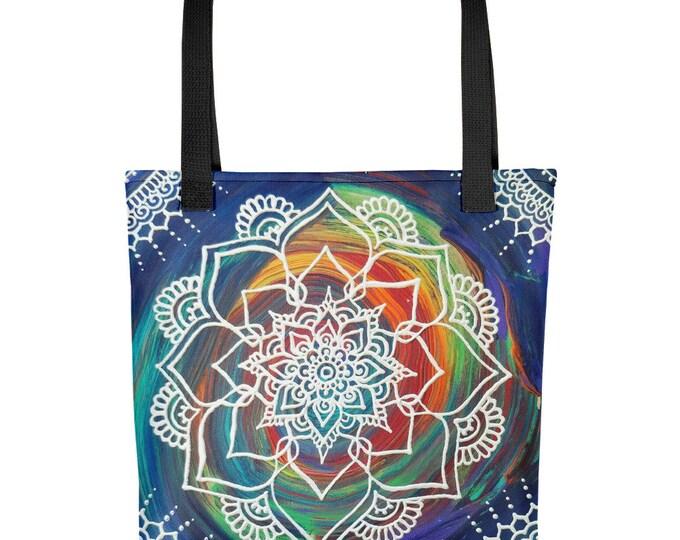 Color Splash Mandala Tote bag * Freehand Artwork Print