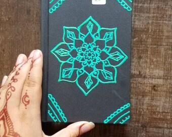 "Original Freehand Painted Crystal Mandala Sketchbook / Journal   4×6"" 110 Page Hardcover   Turquoise  Artwork   Henna Inspired Design"