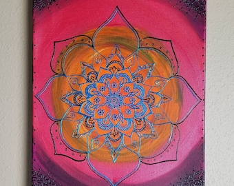 Original Midnight's Passion Mandala | 12x16 Intention Art | Freehand Acrylic Painting |Spiritual Reiki Blessed Home Decor | Energy Artwork