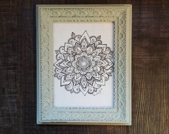 Crystal Mandala Freehand Drawing | Original Artwork | Pen and Ink Design | Framed Home Decor