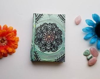 "Heart Magic Intention Mandala Sketchbook | Intentionally Sketchy Collection | Hand Painted 4x6"" 110 pg Intention Journal 