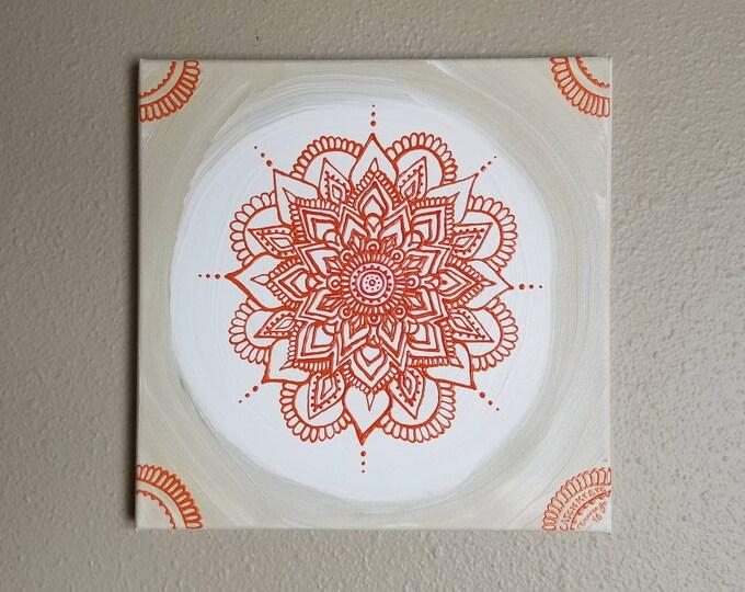 Sacral Chakra Mandala   Intention Mandala Series   Reiki Charged Acrylic Painting   Home Decor   Sacred Space Art