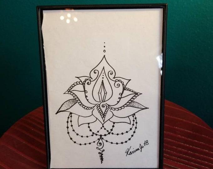 "Crystal Lotus Original Pen & Ink Drawing 5×7""| feather art | framed wall decor | handmade boho gift | reiki intention art"