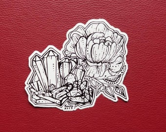 Crystal Cluster Peony Sticker | Art Freehand Drawn Car Decal | Artist Print | Mandala & Henna Inspired