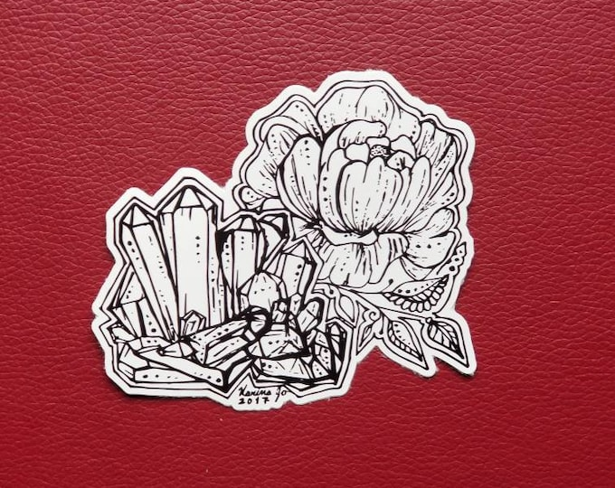 Crystal Cluster Peony Sticker | Art Freehand Drawn Car Decal | Artist Print | Mandala & Henna Inspired