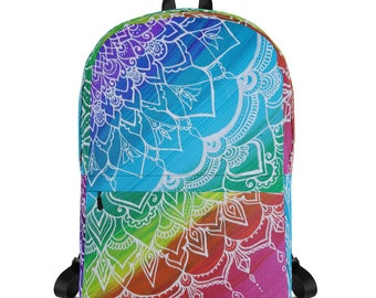 Chakra Swirl Mandala Backpack * Intuitive Intention Mandala Rainbow Bag * Back to School Laptop Book Bag
