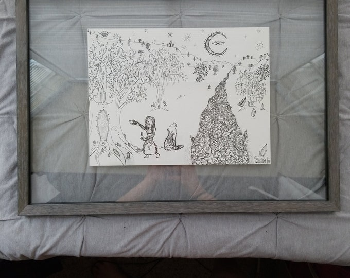 Portal Out of Atlantis l Free Hand Black Ink Artwork l Mandala Style l Atlantis Inspired Drawing Featuring Moon, Path, Mandala, Wolf, Wtich