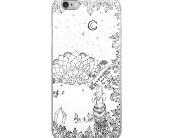 Leaving the Crystal Cave Art iPhone Case * Intuitive Atlantis Freehand Art Print Phone Case