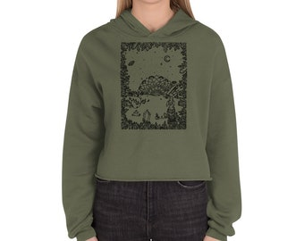 Out of the Crystal Cave Crop Hoodie | Atlantis Series Art Print | Freehan Intuitive Crystal Moon Drawing | Reiki Energy Design | Mandala
