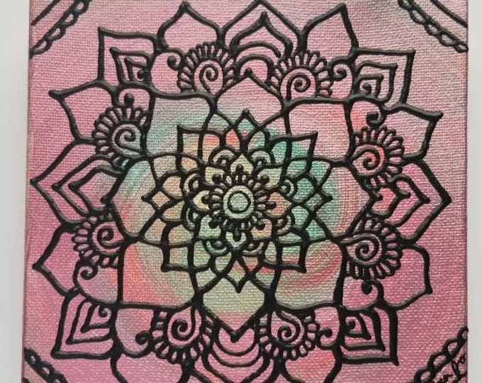 "Desert Spring Mandala 6x6"" Original Painting   Intuitive Reiki Blessed Artwork   Home & Office Wall Art"