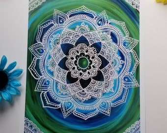 "Sea Lace Manadala Art Print 12×16"" art 13×17"" w border |  Free Handed Green, Blue, Lace Mandala Poster Print l Art Print l Painted Artwork"