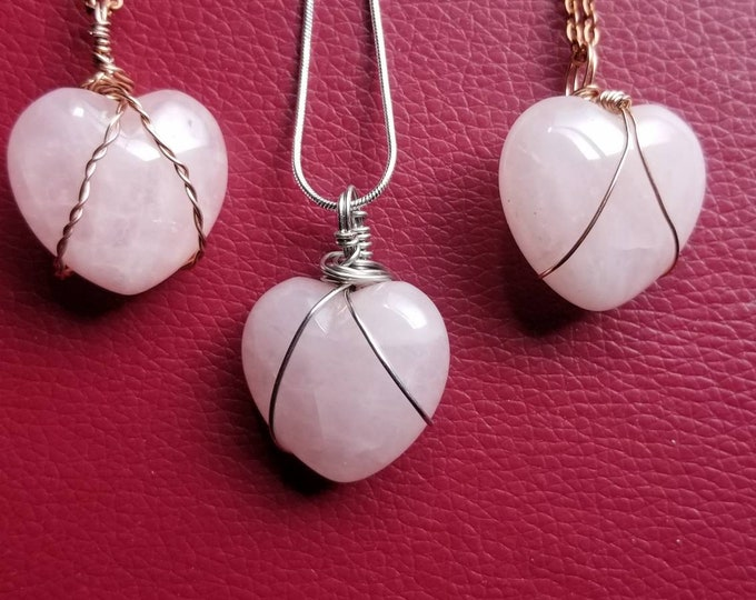 Rose Quartz Heart Necklace | Handmade Wire-Wrapped Crystal Jewelry | Reiki Infused | Heart Chakra | Self-Love & Compassion Intention