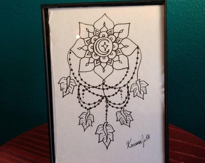 "Star and Moon Dream Catcher Original Pen & Ink Drawing 5×7""| feather art | framed wall decor | handmade boho gift | reiki intention mandala"