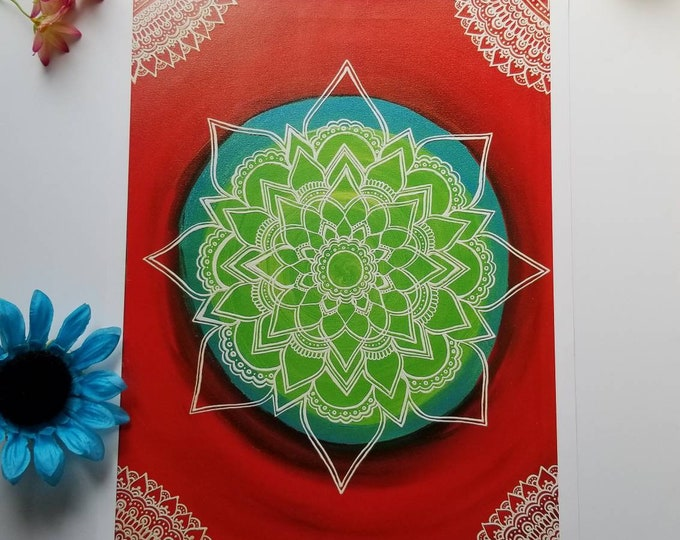 "The Superhero Manadala Art Print 12×16"" art 13×17"" w border |  Freehand Mandala Poster Print l Art Print l Painted Artwork"