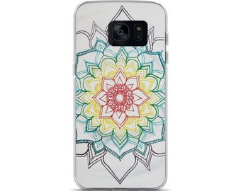 Warm Winter Chakra Mandala Samsung Phone Case | Intuitive Freehand Mandala Art Print | Reiki Energy Blessed Artwork| Rainbow Phone Protector