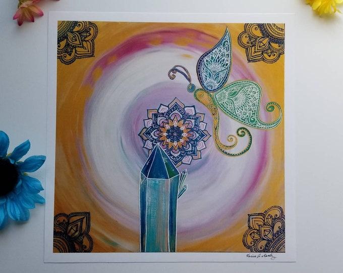 "The Butterfly Atlantis Art Print 12×12"" art 13×13"" w border |  Freehand Mandala Poster Print l Art Print l Painted Artwork"