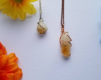 Citrine Crystal Necklace   Solar Plexus Chakra  Success   Good Fortune   Hand Wrapped and Reiki Blessed Jewelry