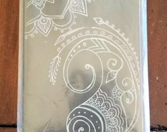 "Neon Paisley Mandala Hand-Drawn Design | 80 Page Blank Moleskine Journal | 5×8 1/4"" | Unique Henna Inspired Artwork Gift"
