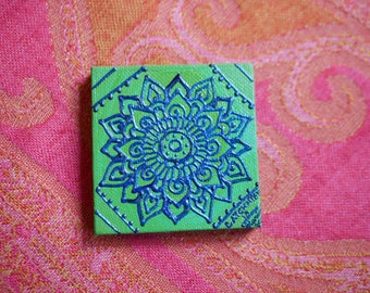 Cobalt Blue Mandala on a Green Swirl Mini Canvas | 2.5×2.5 Original Painting | Artwork Room Decor