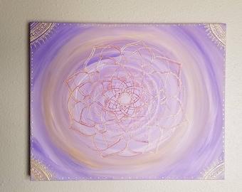 Jasmine Mandala | 16x20 Intention Art | Freehand Acrylic Painting | Spiritual Reiki Blessed Home Decor | Purple & Gold