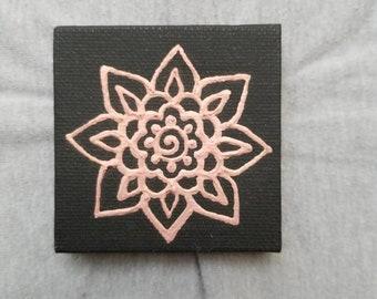Rose Gold Mandala Flower on a Black Mini Canvas | 2.5×2.5 Original Painting | Artwork Room Decor
