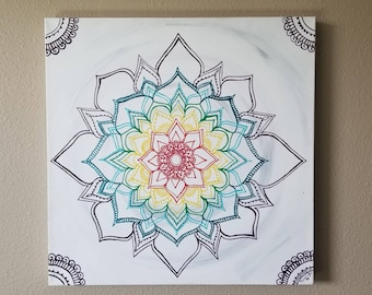 "Warm Winter Chakra Mandala 20x20"" Original Painting 