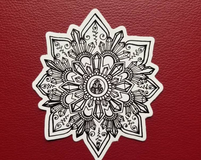Crystal Mandala Sticker | Art Freehand Drawn Car Decal | Artist Print | Mandala & Henna Inspired