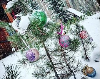 Custom MEDIUM Hand-Painted Holiday Ornament | Handmade Gift | Freehand Painted Decor | Custom Christmas Tree idea | Acrylic Mandala
