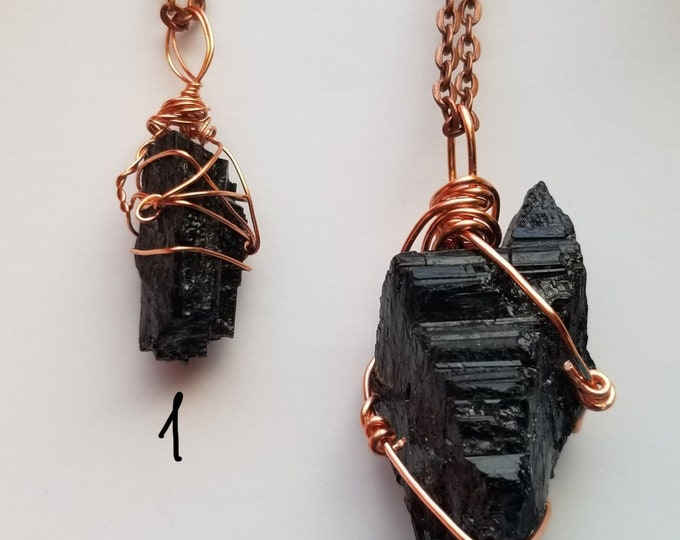 Black Tourmaline Crystal Necklace | Root Chakra| Protection| Block Negative Energy | Hand Wrapped and Reiki Blessed Jewelry