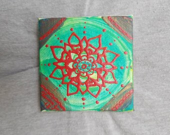 Red and Green & Blue Mandala Mini Magnet Canvas