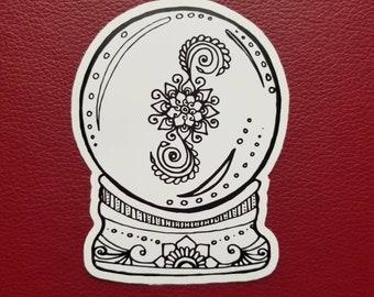Crystal Ball Sticker | Art Freehand Drawn Car Decal | Artist Print | Mandala & Henna Inspired