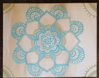Adaline Mandala | 16x20 Intention Art | Freehand Acrylic Painting | Spiritual Reiki Blessed Home Decor | White, Gold and Blue