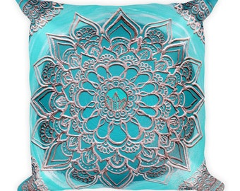Crystal Sea Mandala Square Pillow