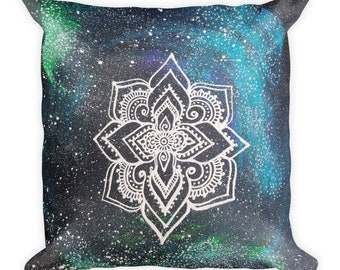 "Galaxy Mandala Square Pillow * Intuitive Intention Mandala * 18""x18"""