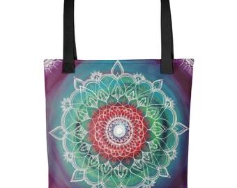 Frequency Portal Mandala Tote bag | blue, purple, green, and red swirl | Freehand Painted Crystal Mandala | Art Print