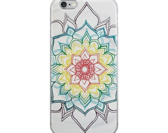 Warm Winter Chakra Mandala iPhone Case | Intuitive Freehand Mandala Art Print | Reiki Energy Blessed Artwork| Rainbow Phone Protector