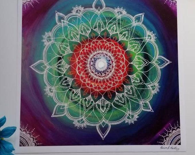 "The Frequency Portal Manadala Art Print 12×12"" art 13×13"" w border |  Freehand Mandala Poster Print l Art Print l Painted Artwork"
