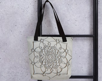 Ice Mandala tote bag | Intuitive Freehand Mandala Art Print | Reiki Energy Blessed Artwork| Silver White & Black
