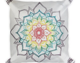 Warm Winter Chakra Mandala pillow | Intuitive Freehand Mandala Art Print | Reiki Energy Blessed Artwork| Rainbow