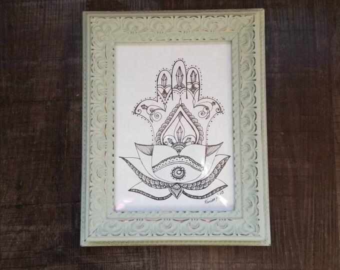 Crystal Hamsa Lotus Freehand Drawing | Original Artwork | Pen and Ink Design | Framed Home Decor