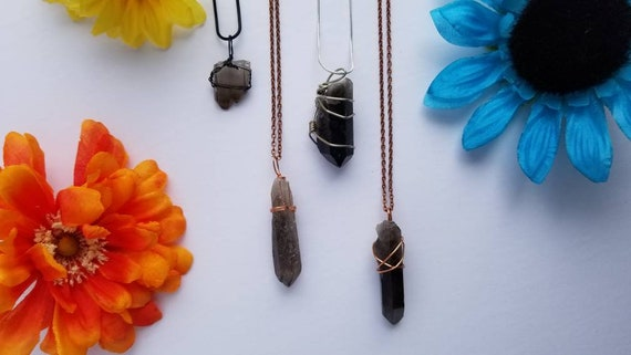 Smoky Quartz Crystal Necklace | Root Chakra| Grounding & Detoxifying Intention | Hand Wrapped and Reiki Blessed Jewelry