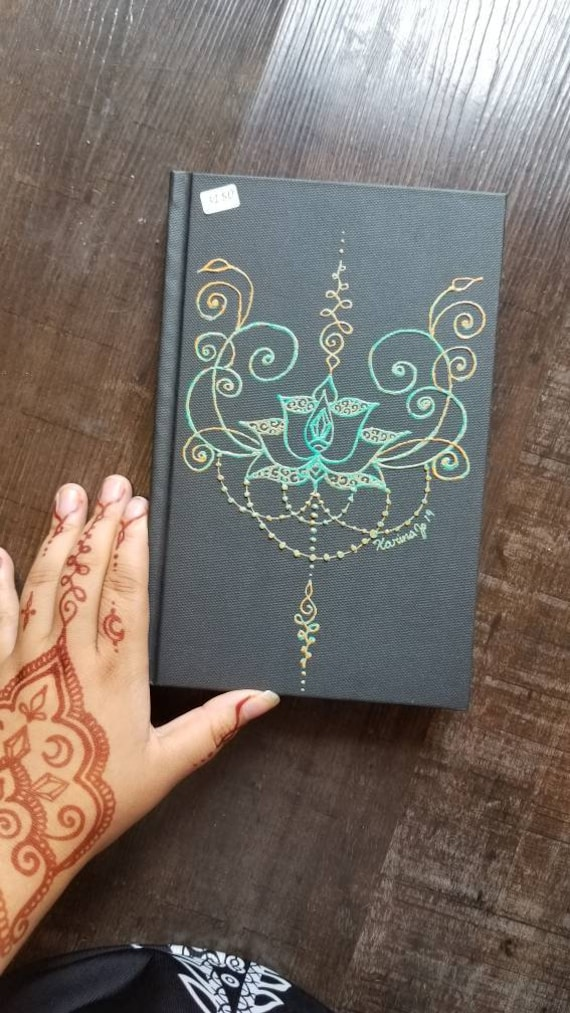 "Original Freehand Painted Teal & Orange Lotus Sketchbook / Journal | 5.5×8.5"" 110 Page Hardcover 