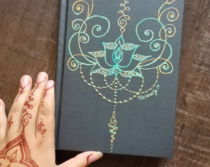"Original Freehand Painted Teal & Orange Lotus Sketchbook / Journal | 5.5×8.5"" 110 Page Hardcover | colorful  Artwork | Henna Inspired Design"