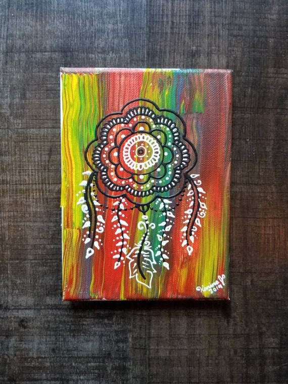 Color Splash Dreamcatcher Original Acrylic Painting| 5×7 Original Canvas | multicolored Freehand Art | Home Decor| Reiki Blessed