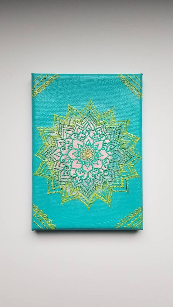 Think Green Mandala Original Acrylic Painting| 5×7 Original Canvas | Green and Blue Freehand Art | Home Decor| Reiki Blessed
