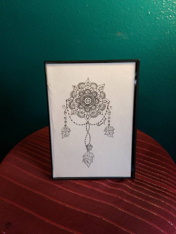 Crystal Mandala Dream Catcher Original Pen & Ink Drawing 5×7"