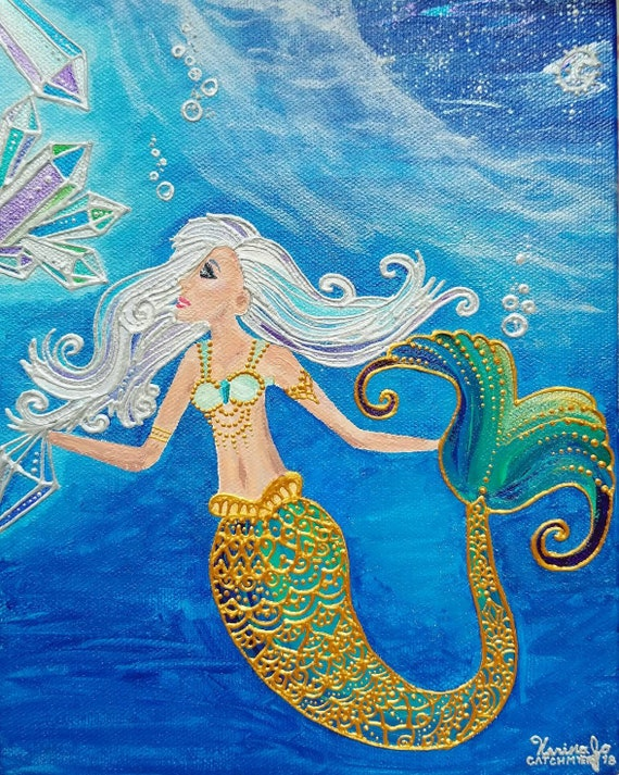 Crystal Mermaid Poster Print l Acrylic Painting print l Framed Art Print l Dorm Decor l Art Print l  Ocean Blue l Moon & Sea