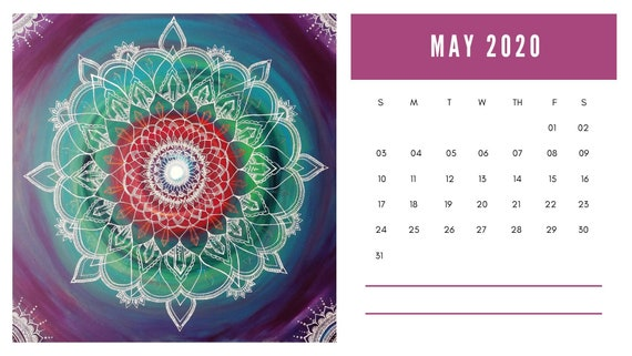 Mandala Art 2020 Calendar | Digital Download | Printable PDF | Painting Artist Prints | Reiki Infused | Instant Download