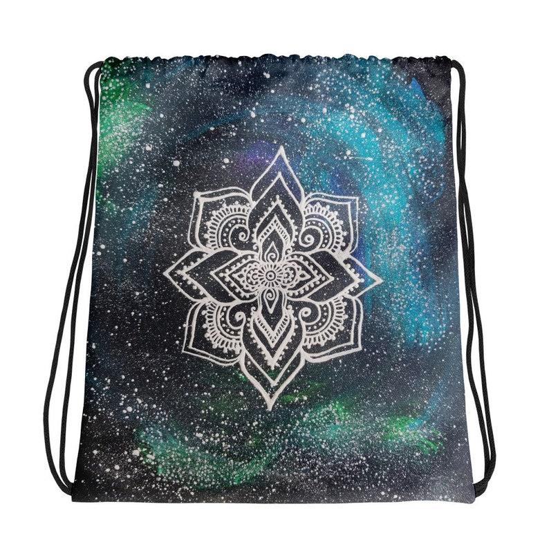 Galaxy Mandala Drawstring bag Freehand Art Print