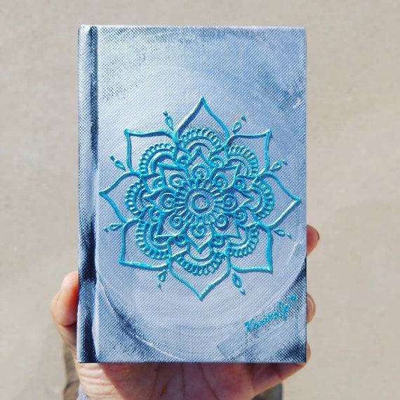 "Original Silver and blue Freehand Painted Mandala Sketchbook /Journal | 4×6"" 110 Page Hardcover 